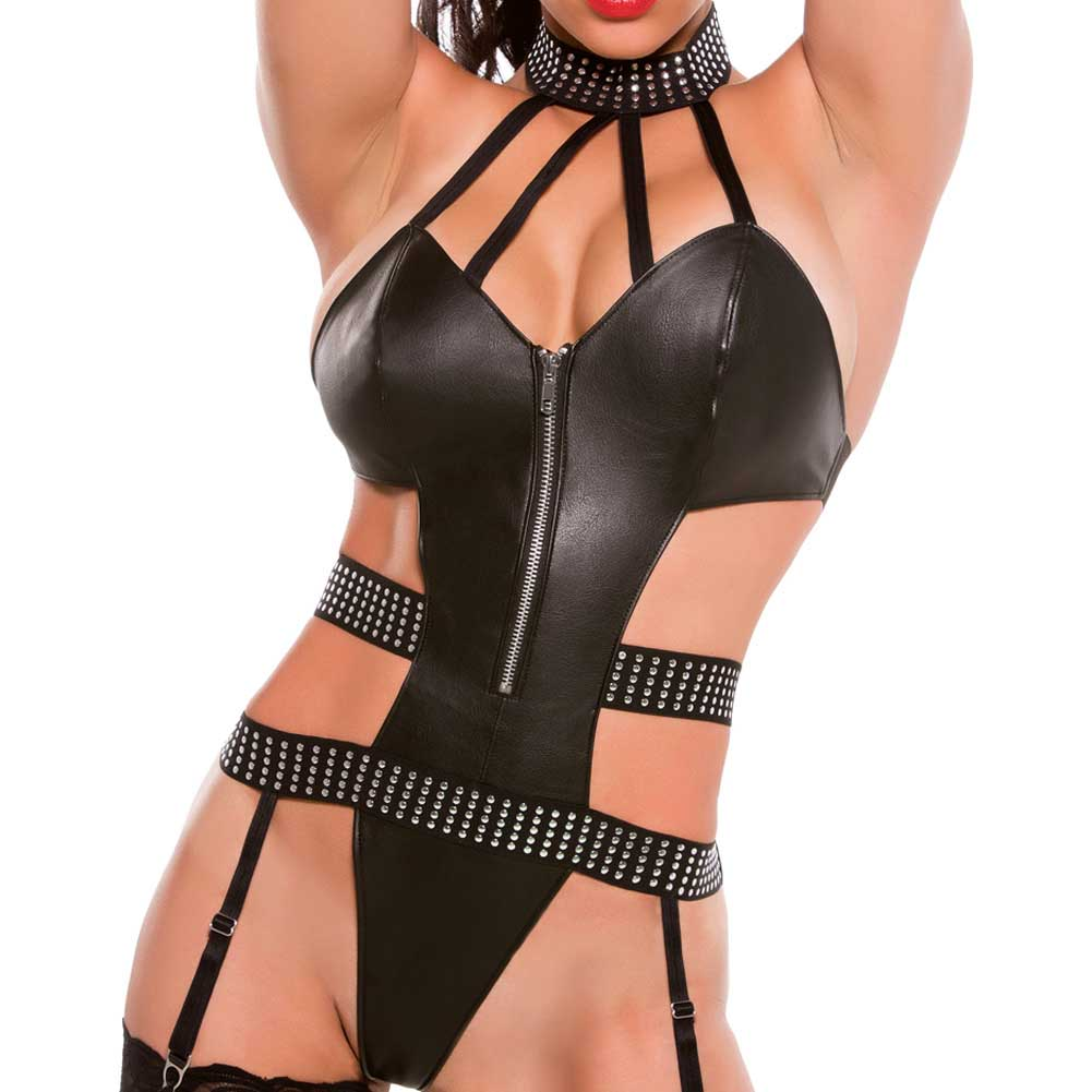 XOXO Breathtaking Faux Leather Teddy One Size Black - View #3
