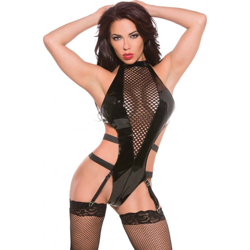Allure Lingerie XOXO Stunning Vinyl and Fishnet Halter Teddy One Size Black - View #1