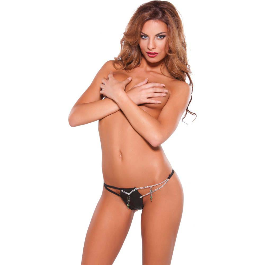 XOXO Faux Leather and Chain G-String One Size Black - View #2
