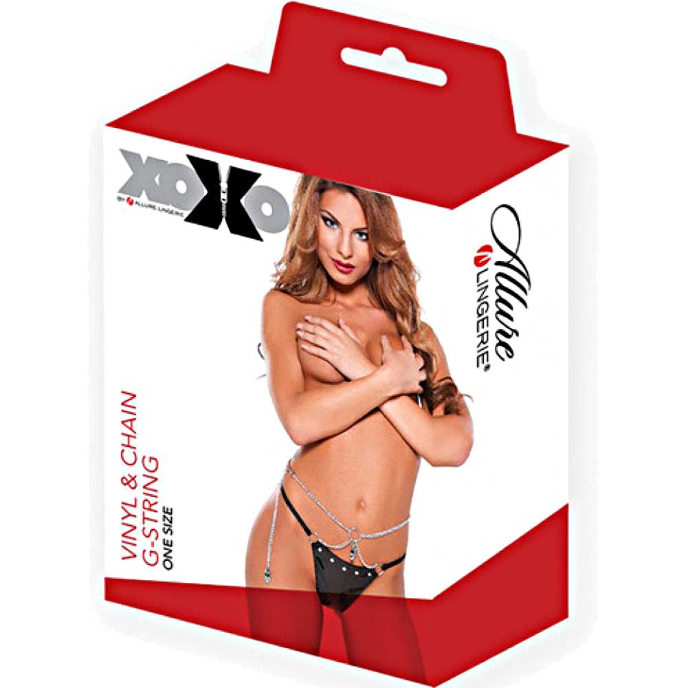 XOXO Seductive Vinyl and Chain G-String One Size Black - View #3