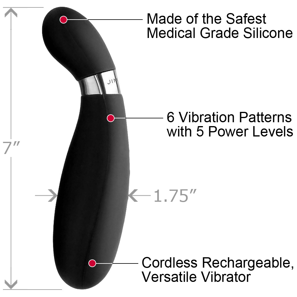 "Jimmyjane Form 6 Waterproof USB Rechargeable Vibrator 7"" Slate - View #1"
