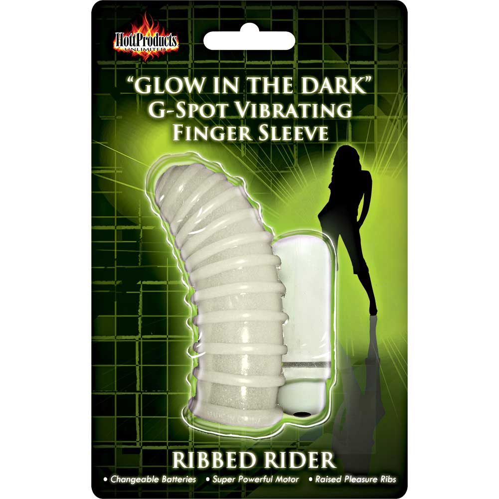 Hott Products Glow-in-the-Dark Vibrating Ribbed Rider Finger Sleeve - View #1