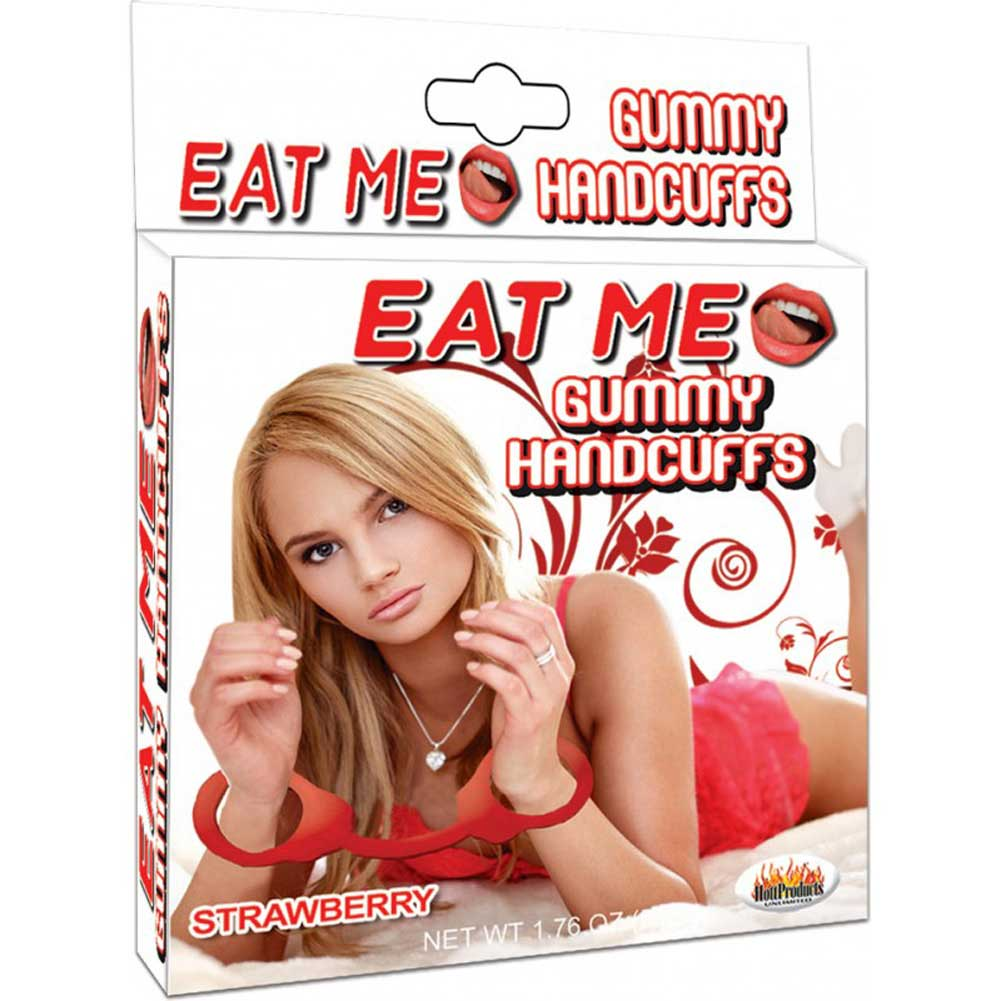 Hott Products Eat Me Gummy Hand Cuffs Strawberry - View #1
