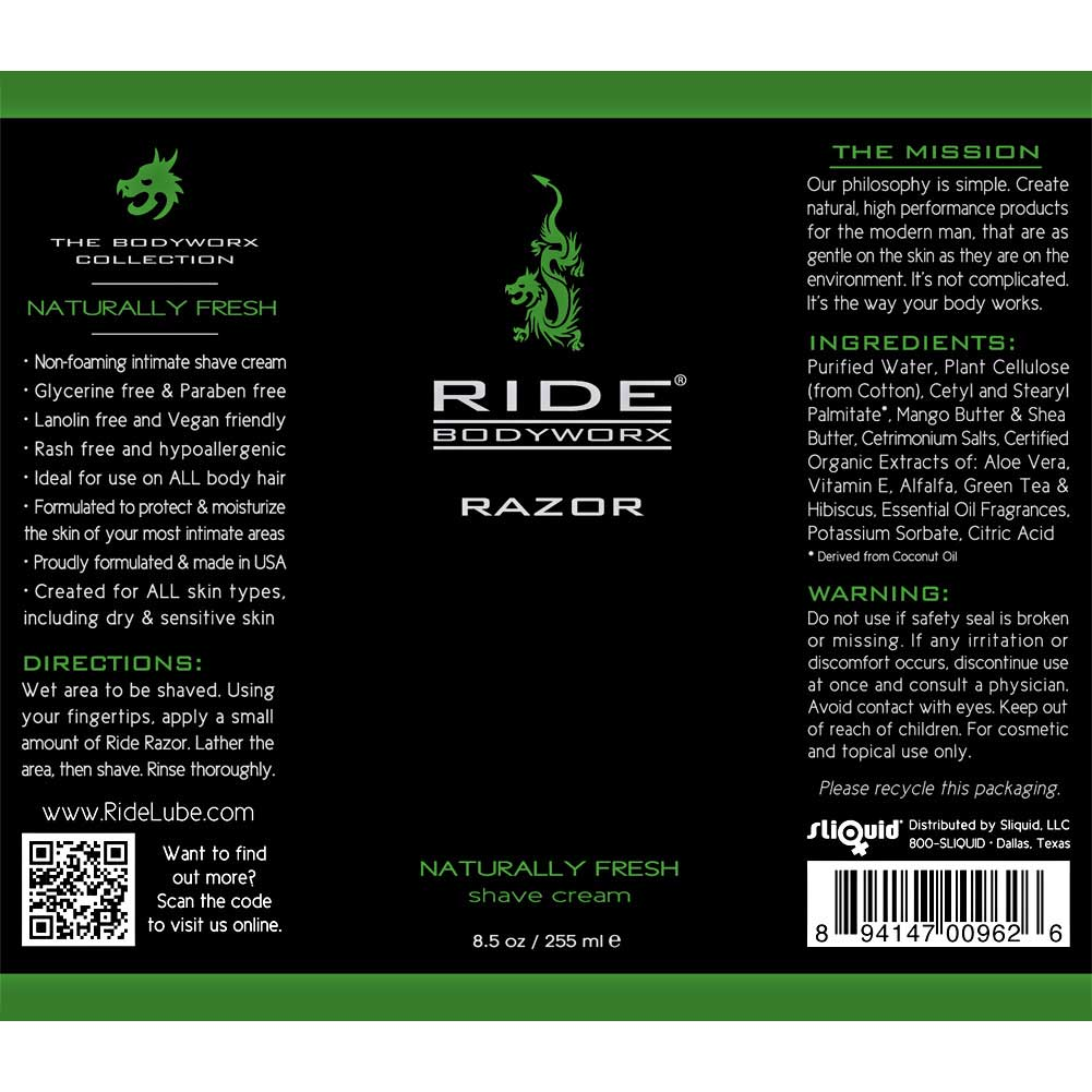 Ride Bodyworx Razor Body Shaving Cream 8.5 Fl.Oz 255 mL Naturally Fresh - View #1