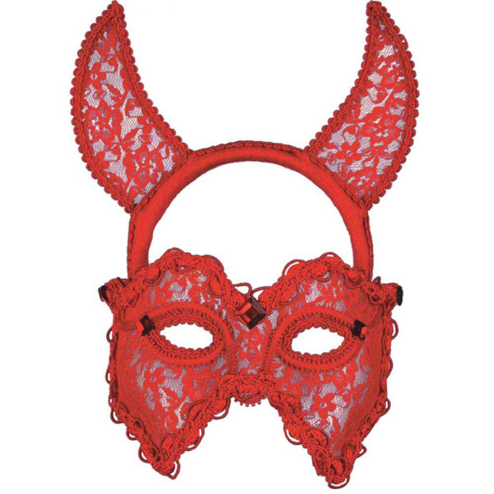 Forum Novelties Red Lace Devil Mask and Headband One Size - View #1