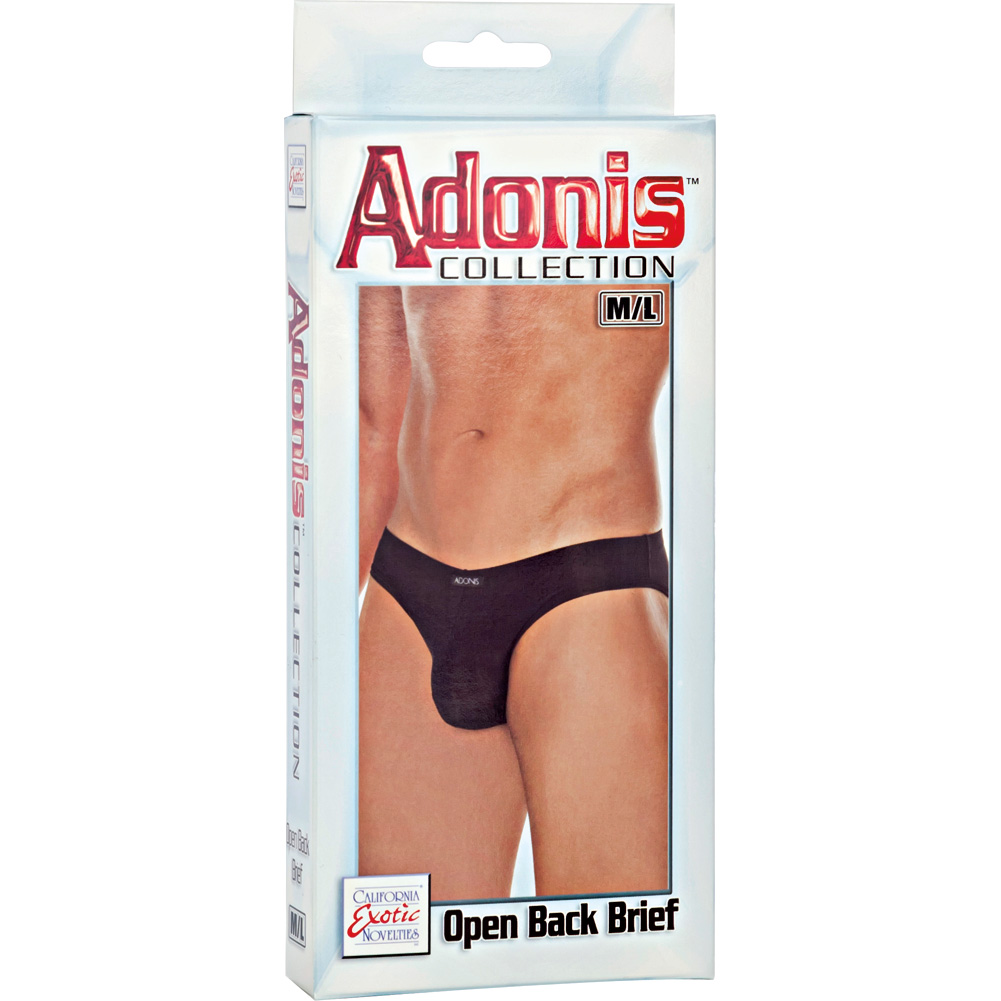 Adonis Collection Open Back Brief Medium/Large Black - View #3