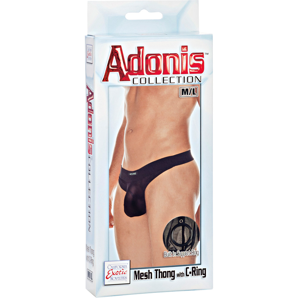 Adonis Collection Mesh Thong with C-Ring Medium/Large Black - View #3