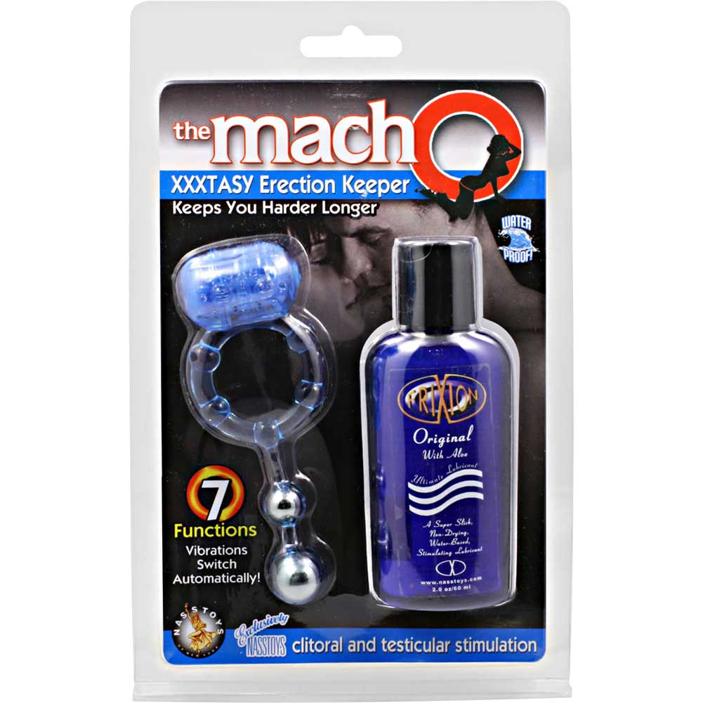 Macho XXXtasy Erection Keeper Vibrating Cockring and Frixion Lubricant Set Blue - View #1
