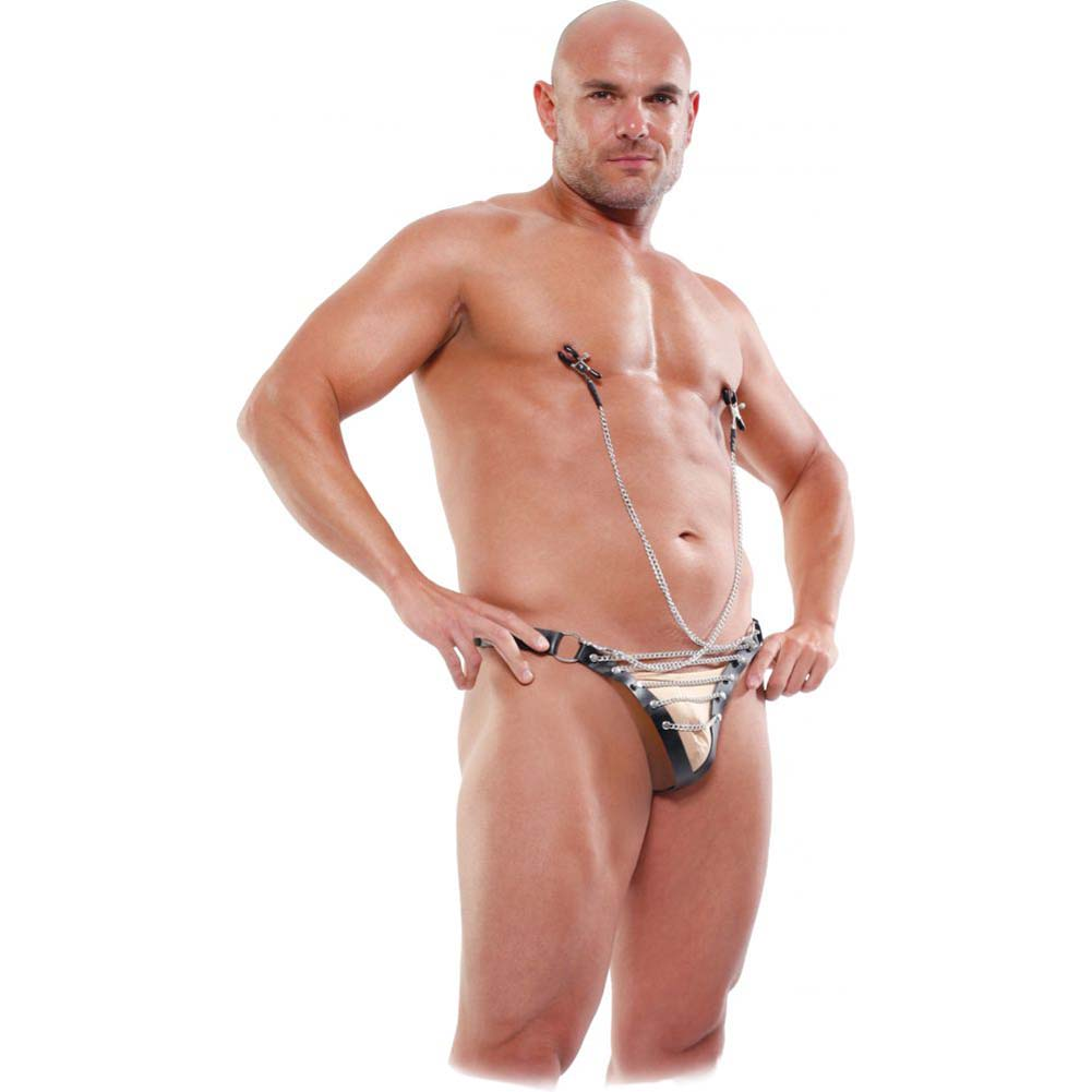 Fetish Fantasy Lingerie Male Chain Gang Thong and Nipple Clamps Set 2XL/3XL Black - View #4
