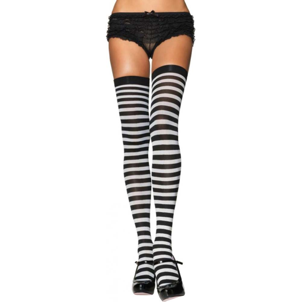Leg Avenue Hotizontal Opaque Striped Thigh High Stockings One Size Black/White - View #1