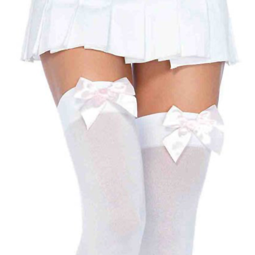 Leg Avenue Opaque Thigh High Stockings with Satin Bows One Size White - View #2