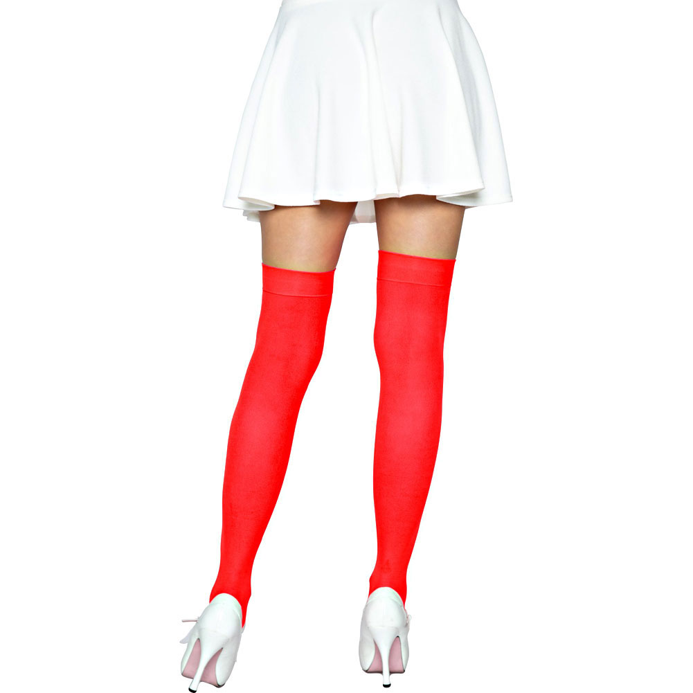 Leg Avenue Over the Knee Thigh High Stockings One Size Red - View #2