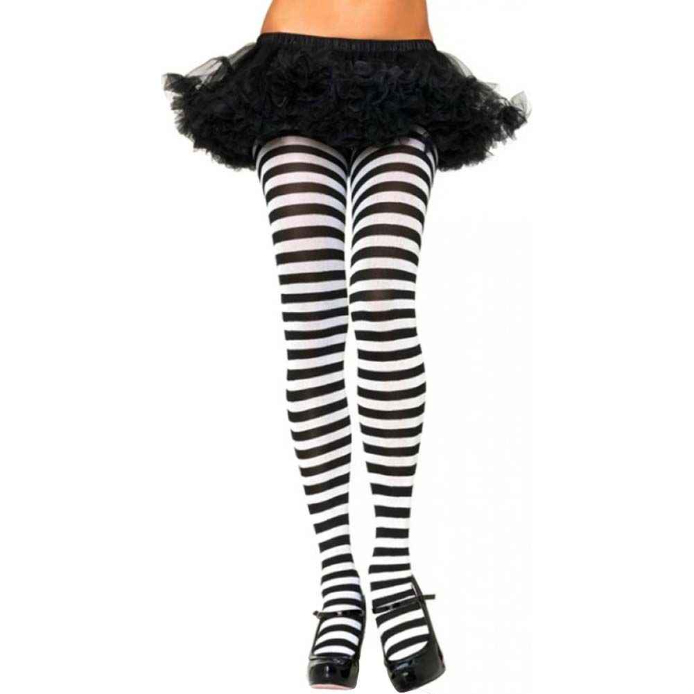 Leg Avenue Nylon Striped Tights One Size Black/White - View #1