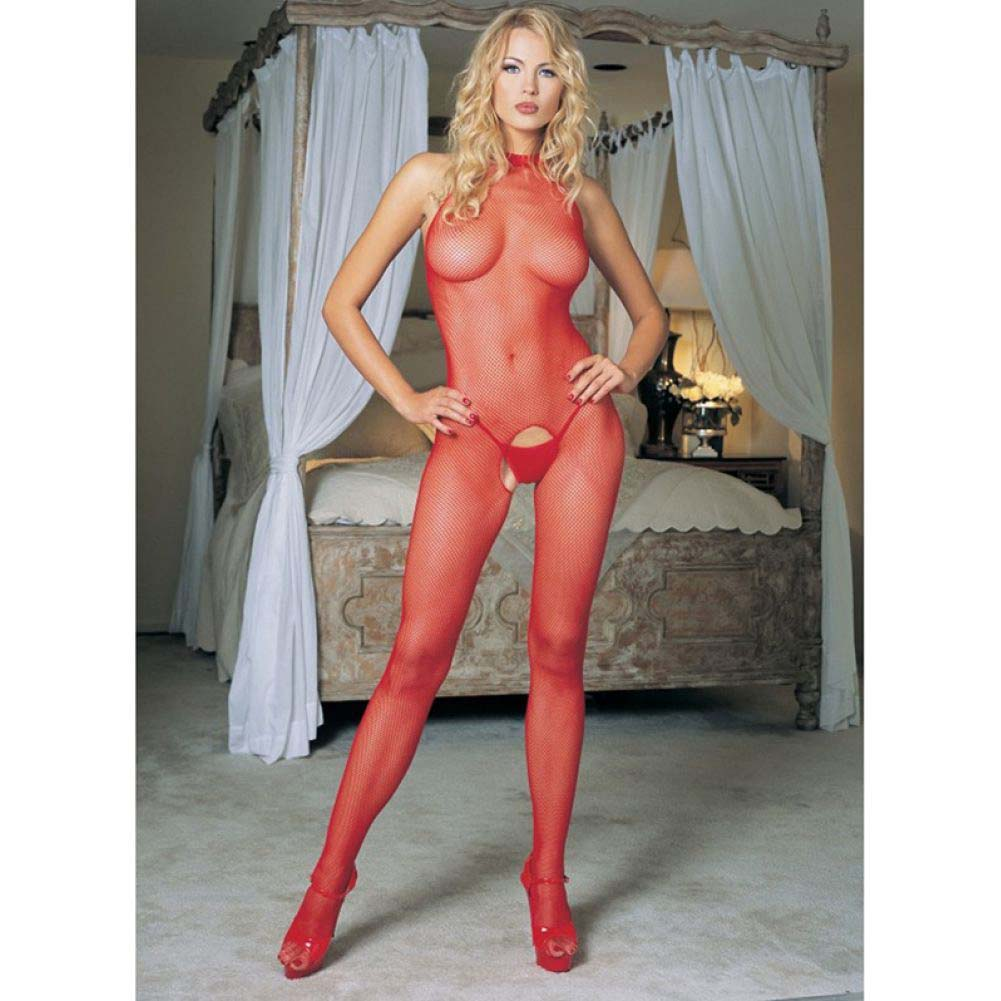 Leg Avenue Seamless Fishnet Bodystocking One Size Red - View #2