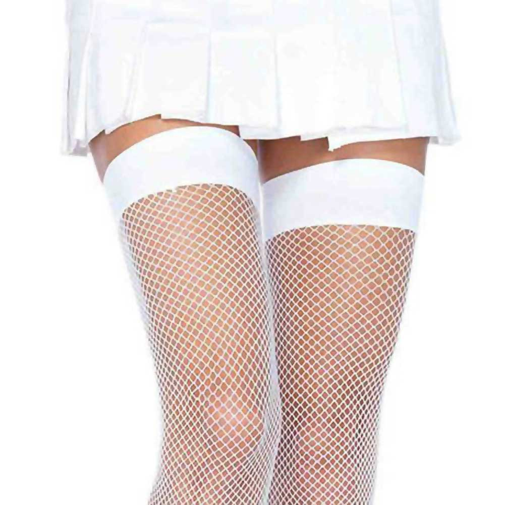 Leg Avenue Nylon Fishnet Thigh High Stockings One Size White - View #2