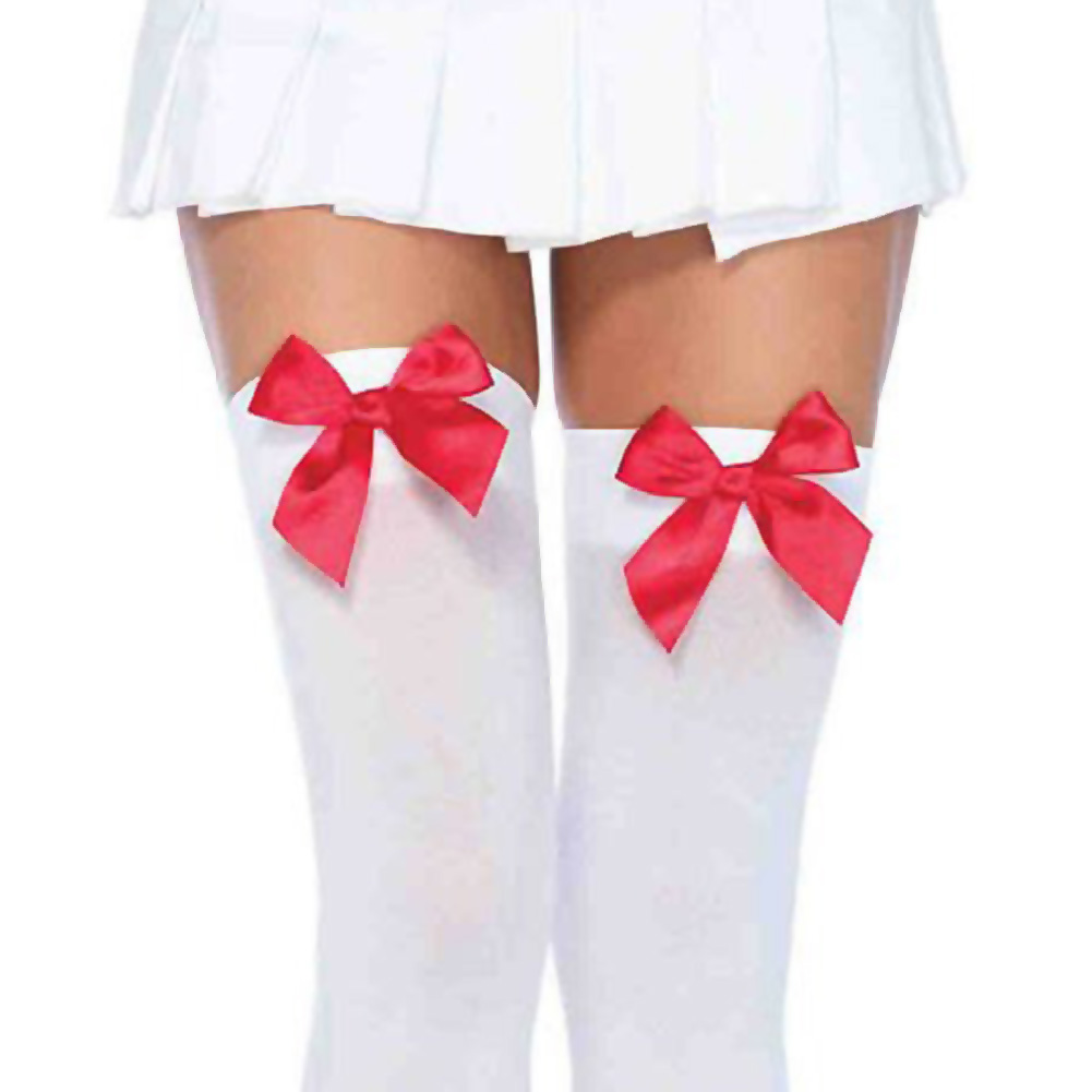 Leg Avenue Opaque Thigh High Stockings with Satin Bows One Size White/Red - View #2