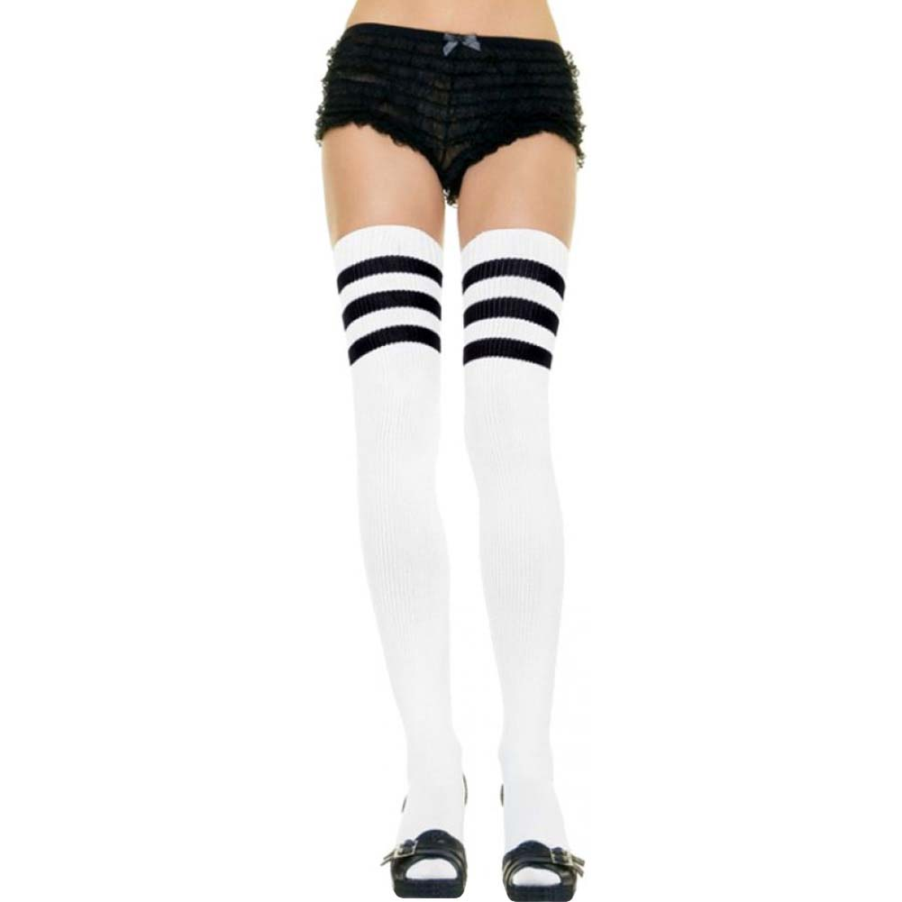 Leg Avenue Athlete Thigh High with 3 Stripe Top One Size White/Black - View #1