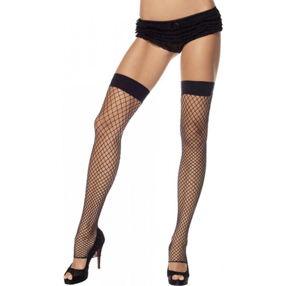 Leg Avenue Industrial Net Footless Thigh High One Size Black - View #1