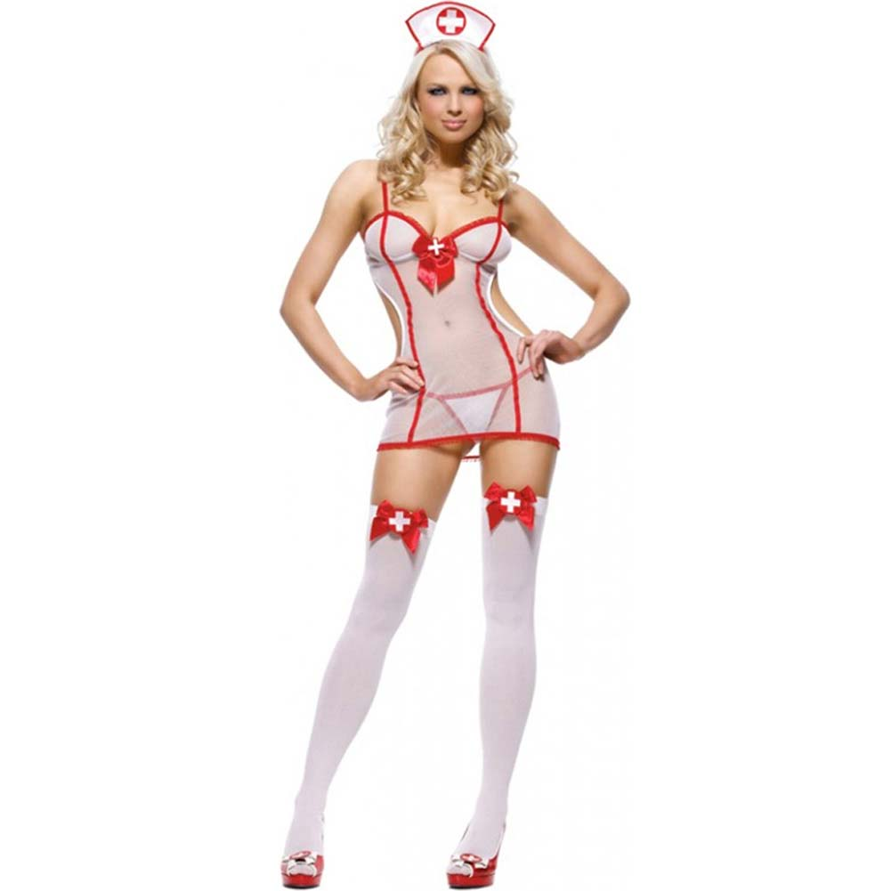 Leg Avenue 3-Piece Nurse with Sheer Dress G-String and Hat One Size Red/White - View #1