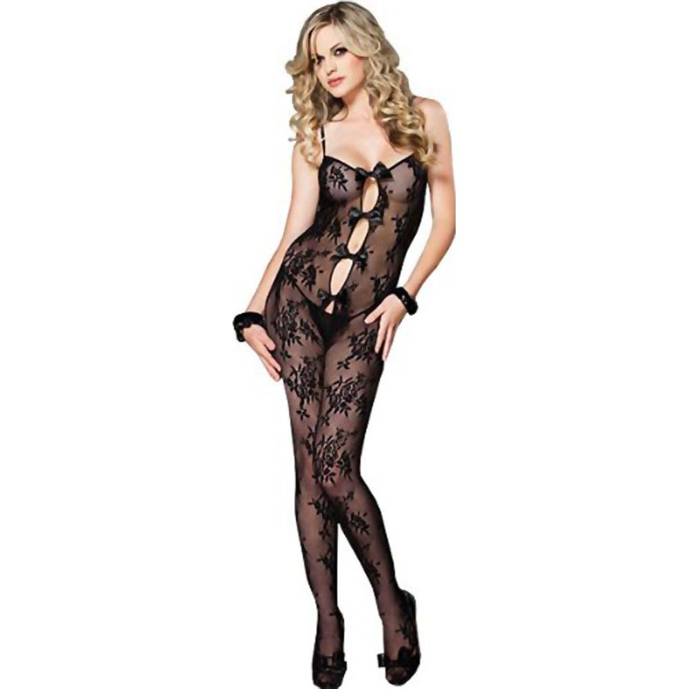 Leg Avenue Bouquet Lace Bodystocking with Keyhole Bow Detail One Size Black - View #1