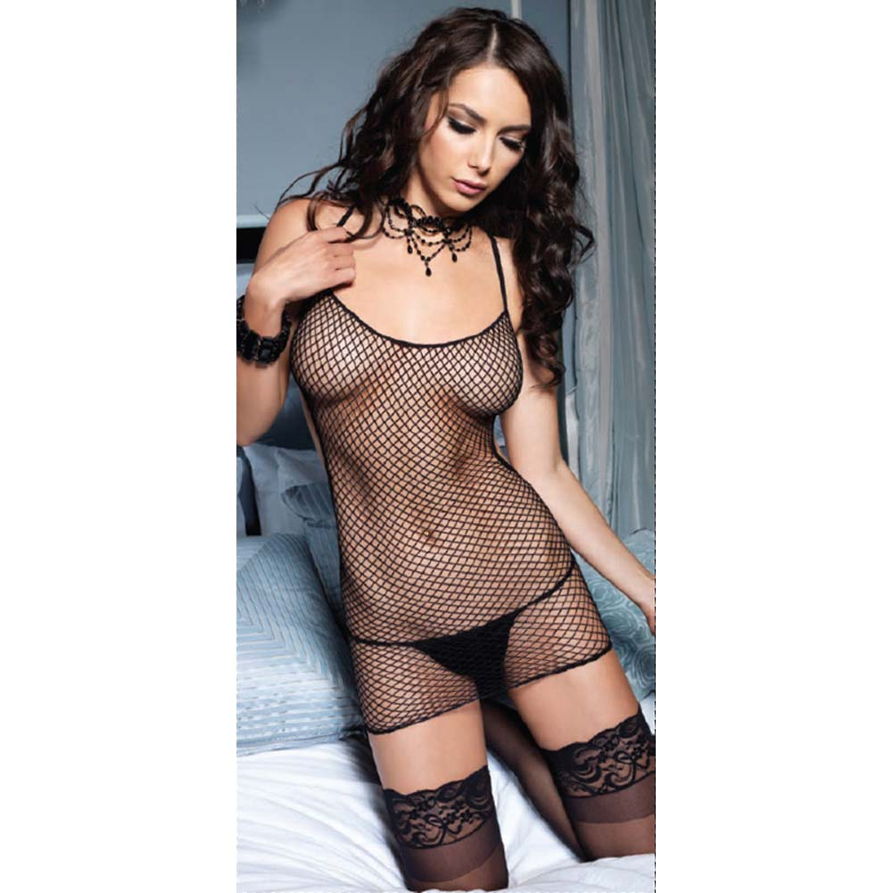 Leg Avenue Industrial Net Mini Dress with Cheeky Corset One Size Black - View #2