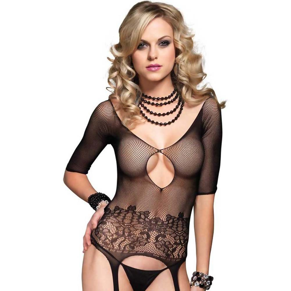 Leg Avenue Fishnet Quarter Sleeve Suspender Bodystocking One Size Black - View #2
