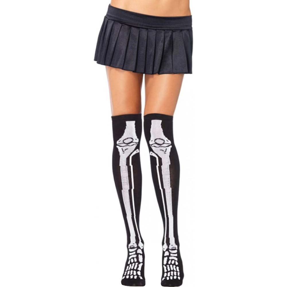 Leg Avenue Skeleton Over the Knee Socks One Size Black/White - View #1