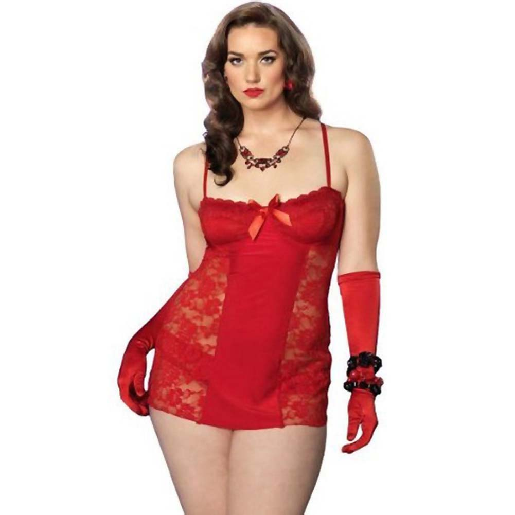 Leg Avenue Spandex and Lace Chemise and Panty 3X/4X Red - View #1