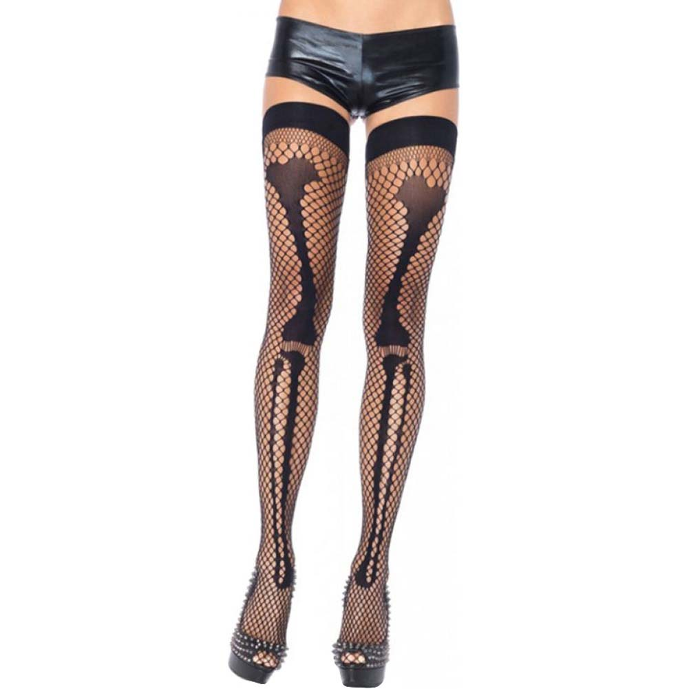 Leg Avenue Net Leg Bone Thigh Highs One Size Black - View #1