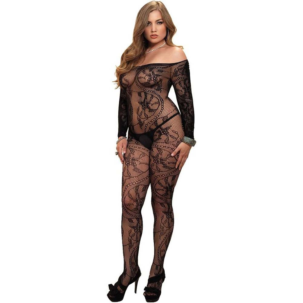 Leg Avenue Spiral Lace Bodystocking One Size Queen Black - View #1