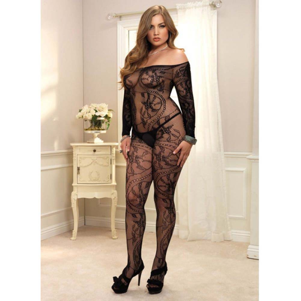 Leg Avenue Spiral Lace Bodystocking One Size Queen Black - View #3