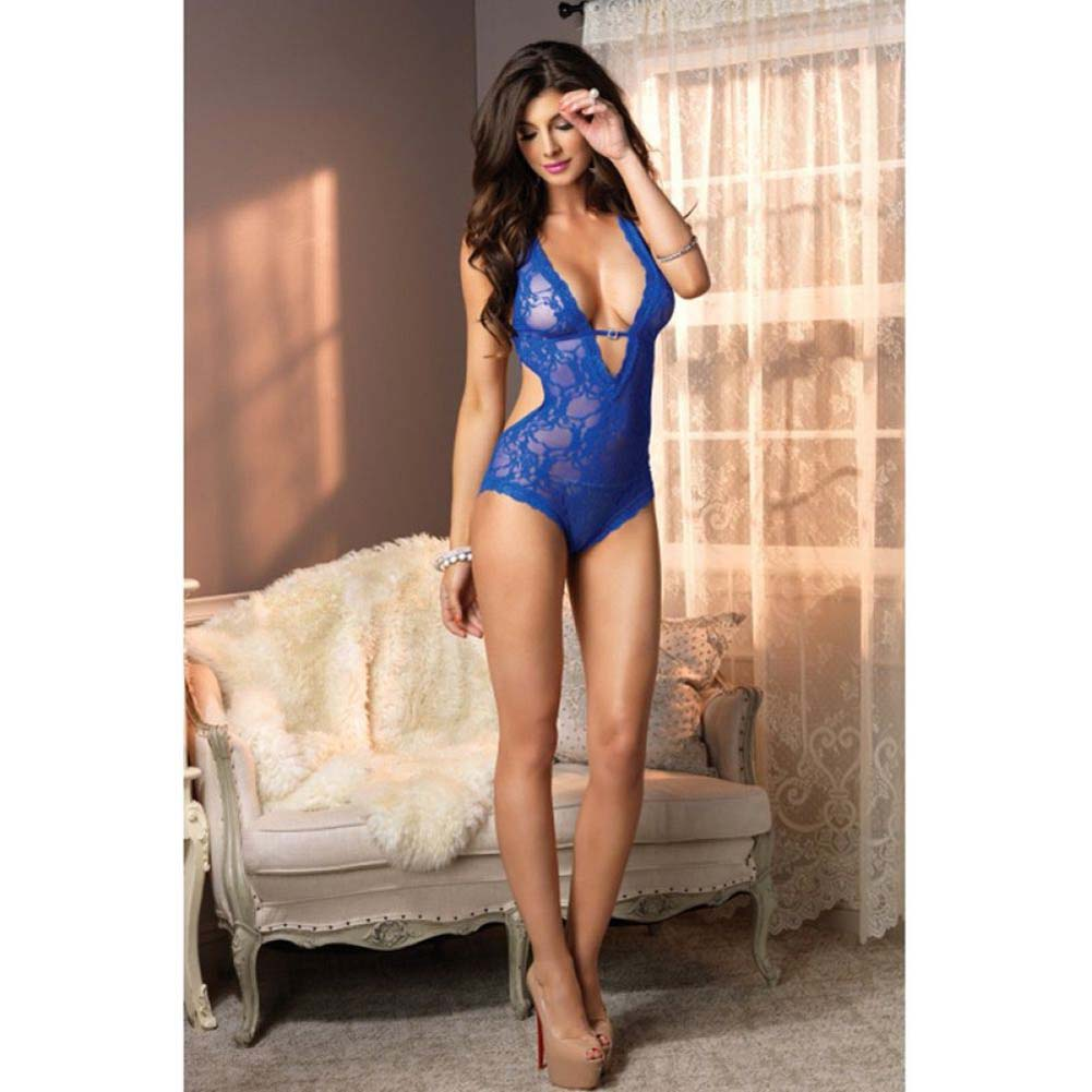 Leg Avenue Stretch Lace Deep-V Halter Teddy. One Size Blue - View #3