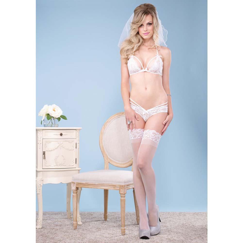 Leg Avenue 2 Piece Strappy Halter Bra and Brazillion Panty Medium/Large White - View #3