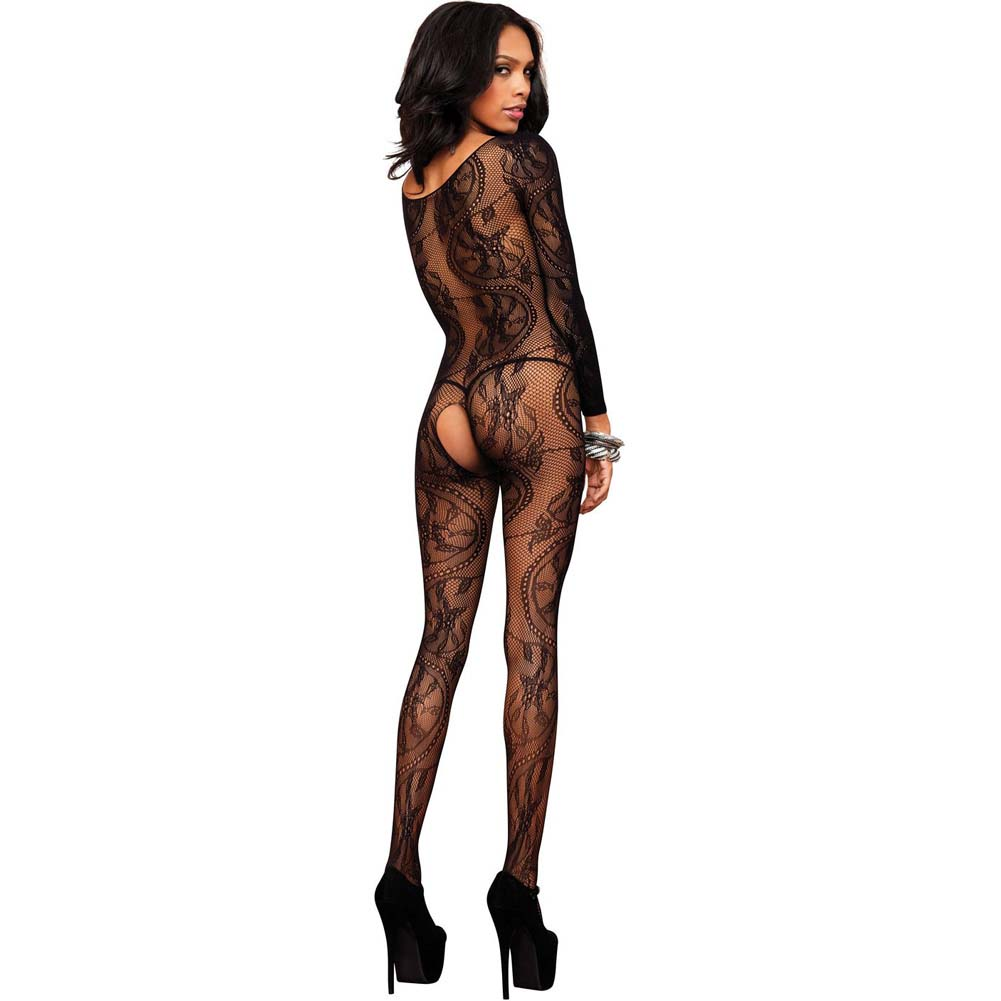Leg Avenue Swirl Lace Long Sleeve Bodystocking One Size Black - View #2