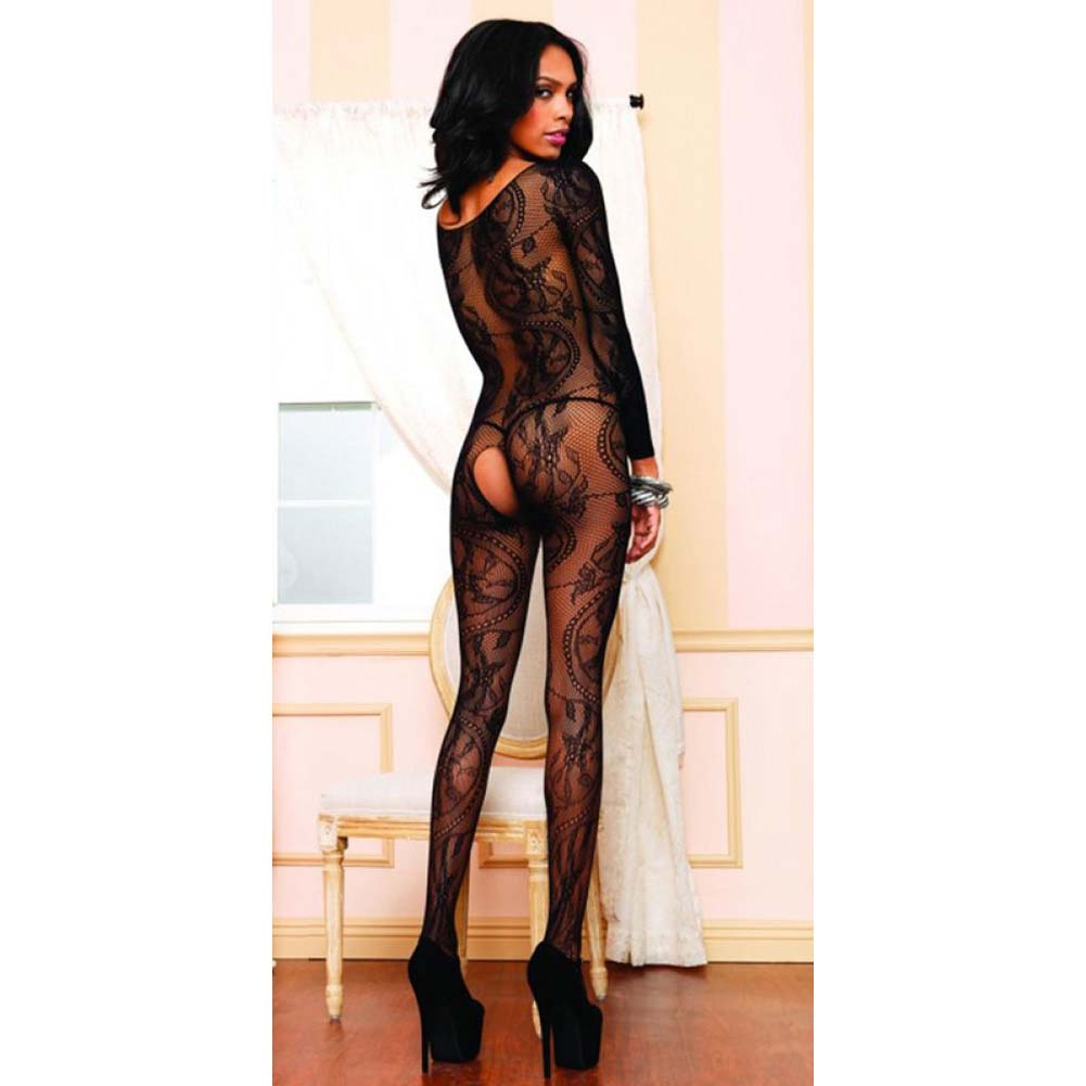 Leg Avenue Swirl Lace Long Sleeve Bodystocking One Size Black - View #4