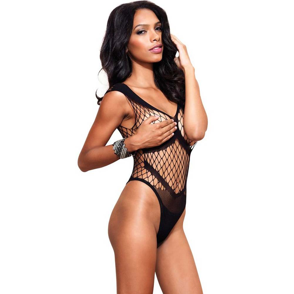 Leg Avenue Seamless Diamond Net Thong Teddy One Size Black - View #1