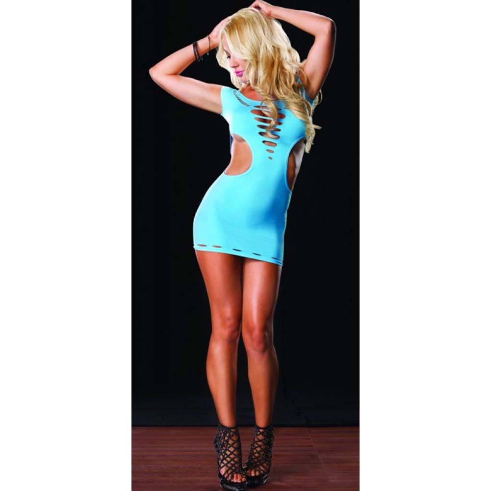 Leg Avenue Seamless Cut Out Mini Dress One Size Neon Blue - View #3