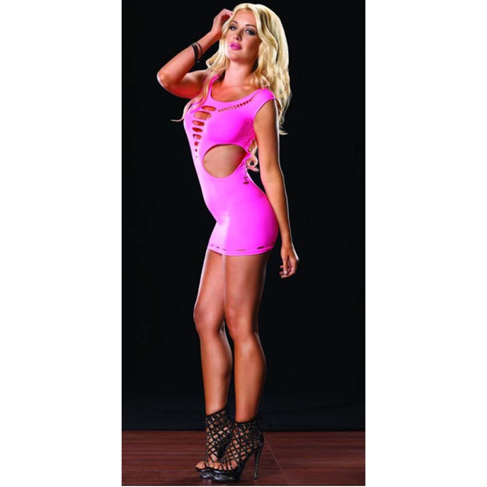 Seamless Cut Out Mini Dress Neon Pink One Size - View #3