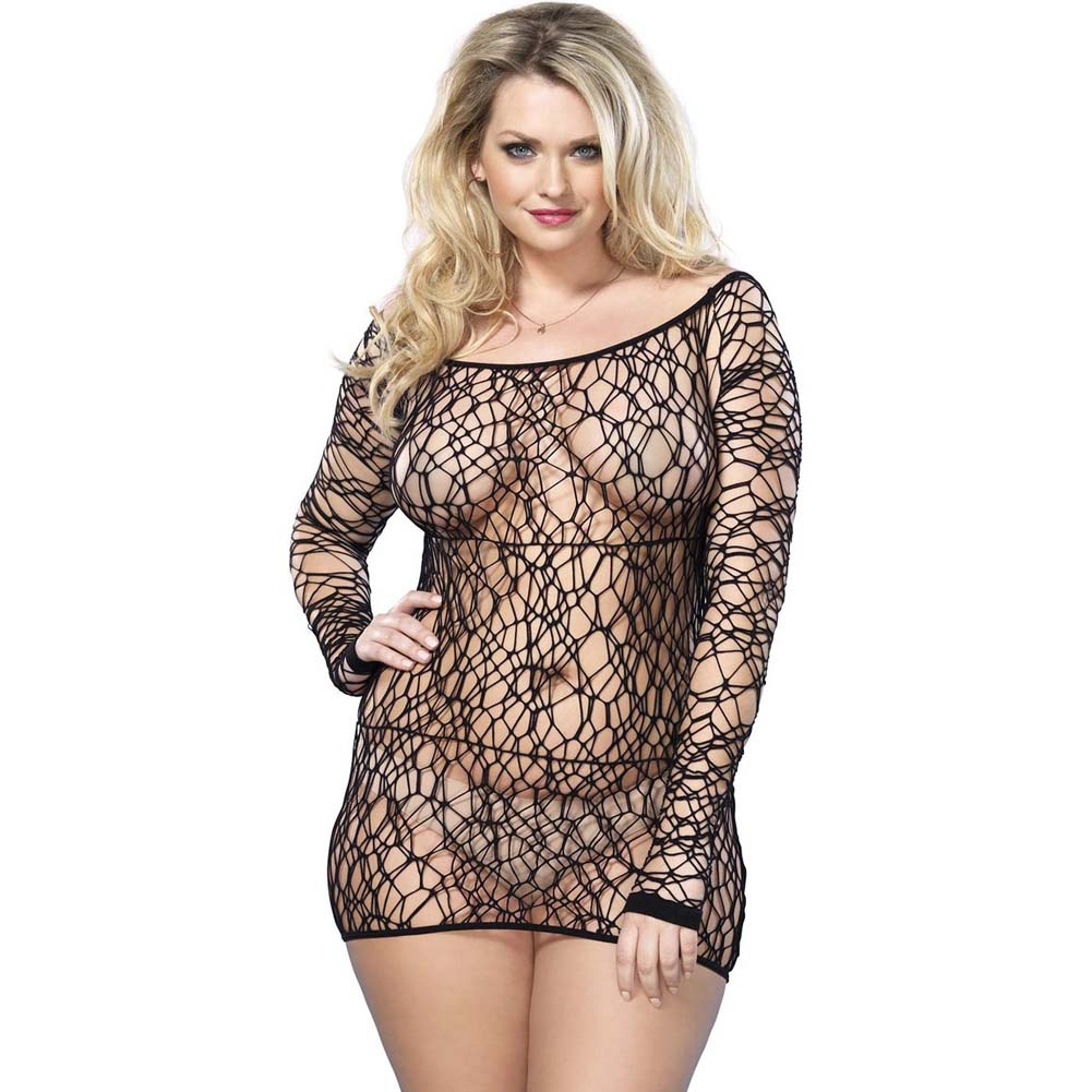 Leg Avenue Web Net Long Sleeved Mini Dress One Size Queen Black - View #1