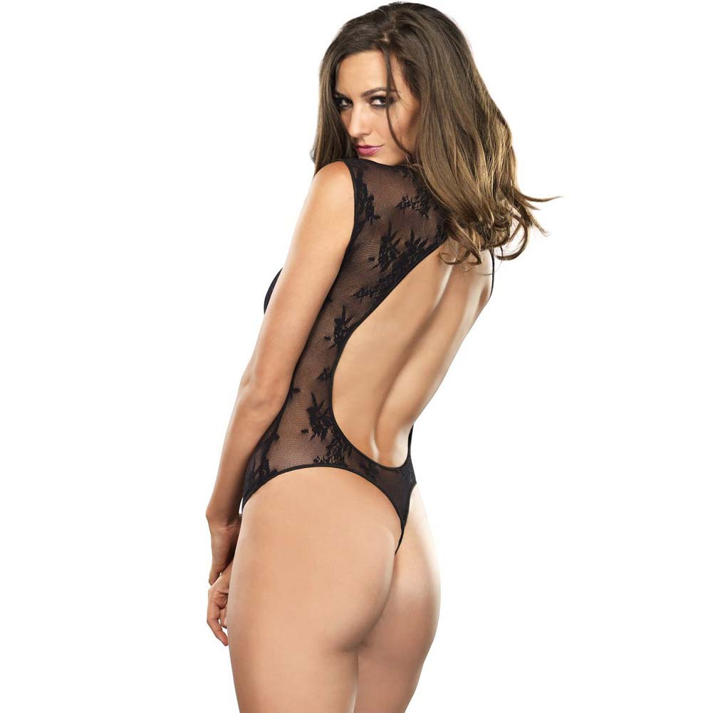 Leg Avenue Stretch Lace Teddy with Keyhole and G-String One Size Black - View #2