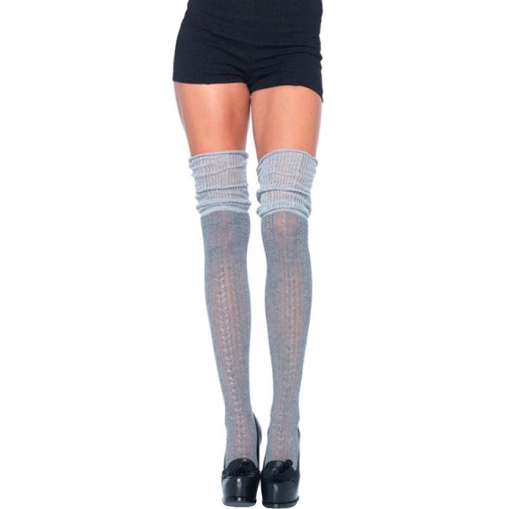 Leg Avenue Acrylic Pointelle Over-the-Knee Scrunch Socks One Size Grey - View #1