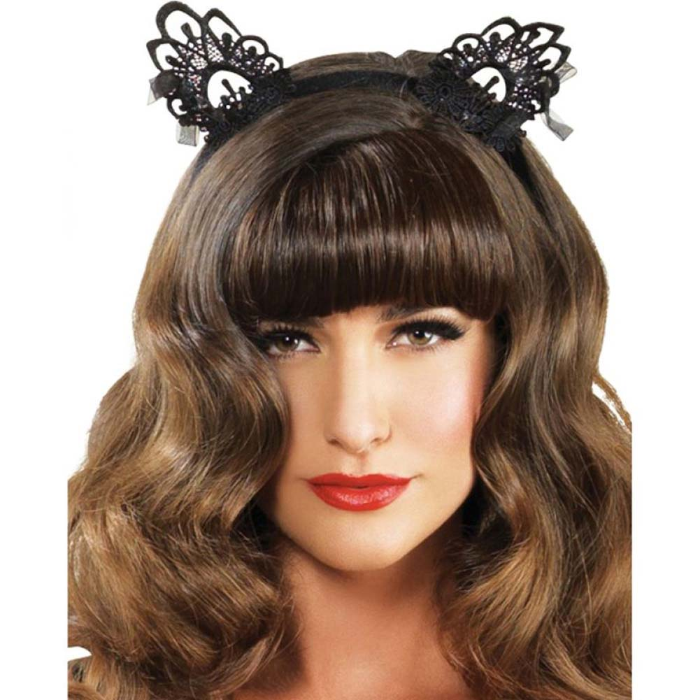 Leg Avenue Venice Lace Cat Ears with Bows One Size Black - View #1
