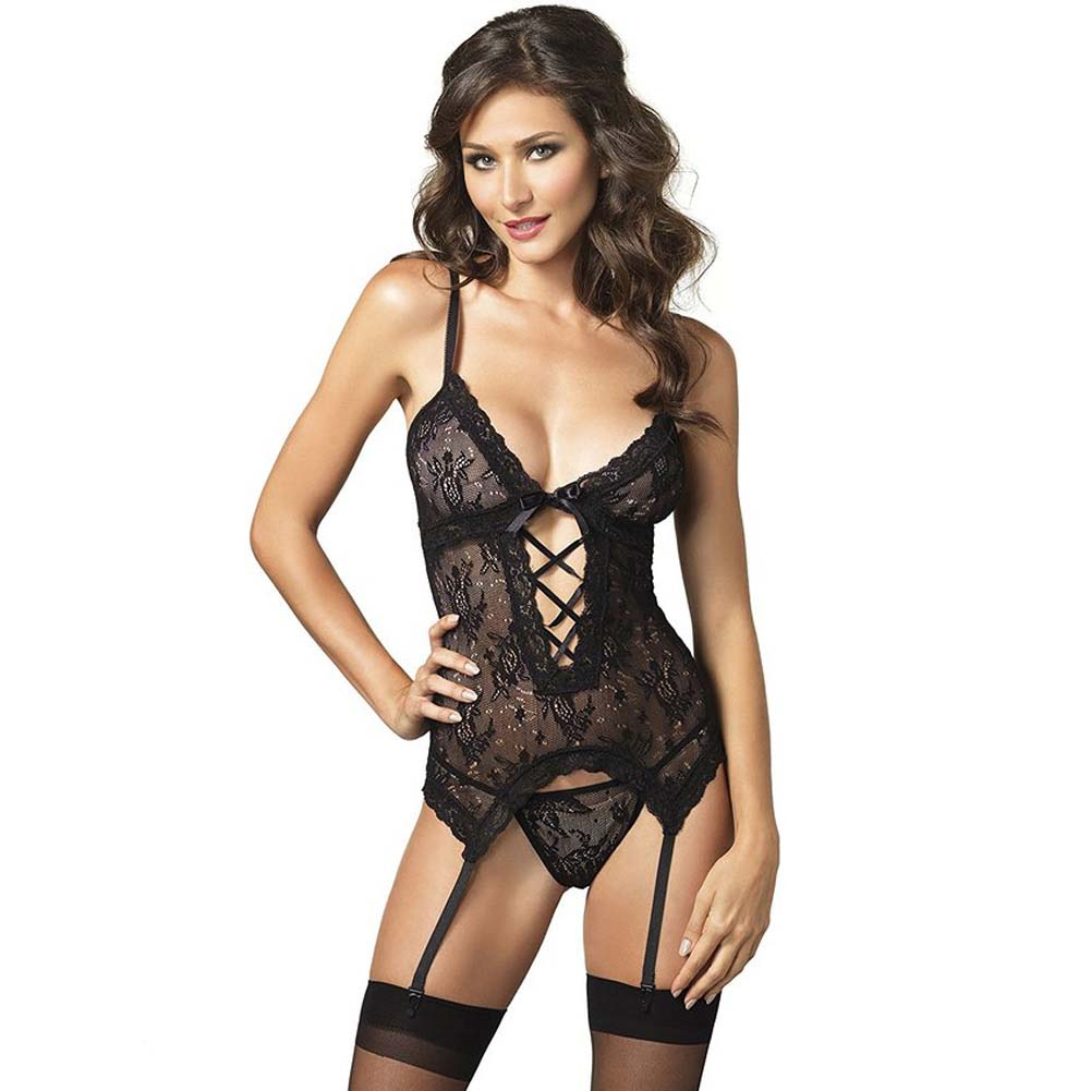 2 Piece Floral Lace Cami Garter and G One Size Black - View #1