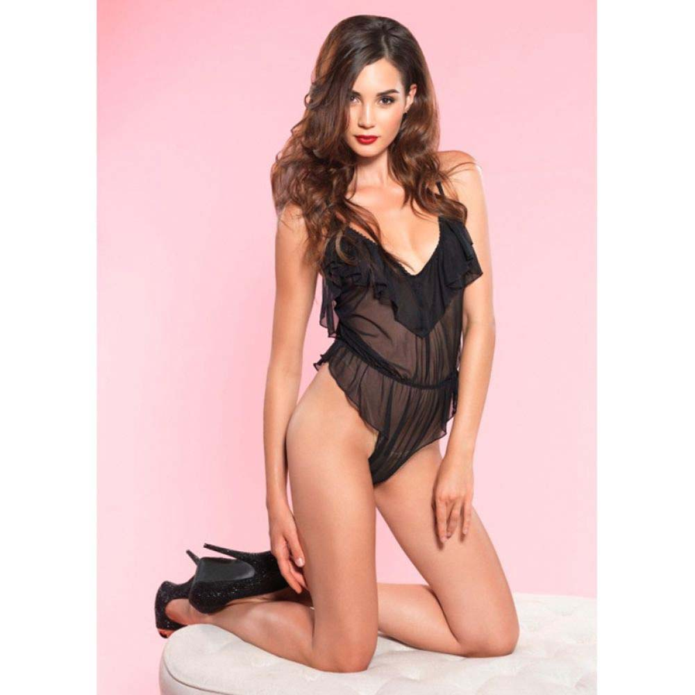 Leg Avenue Flutter Ruffle Teddy with Brazilian Back Small/Medium Black - View #2