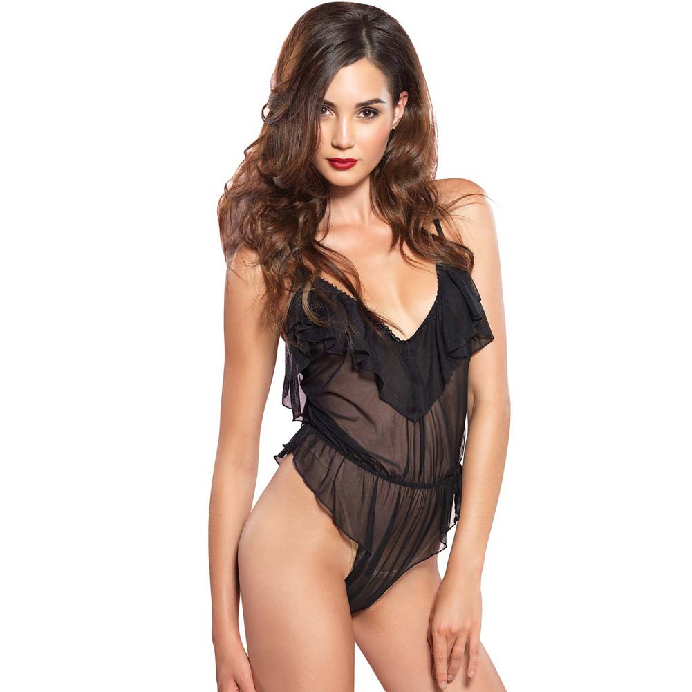 Leg Avenue Flutter Ruffle Teddy with Brazilian Back Medium/Large Black - View #1