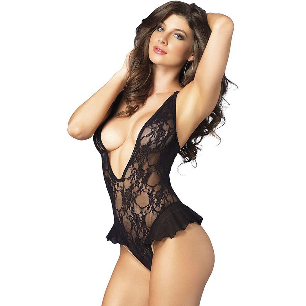Leg Avenue Deep-V Floral Lace Flutter Teddy One Size Black - View #1