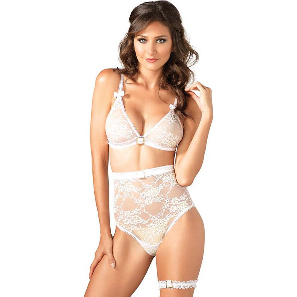 Leg Avenue Lace Bra High Waist Panty and Garter Set Medium White - View #1