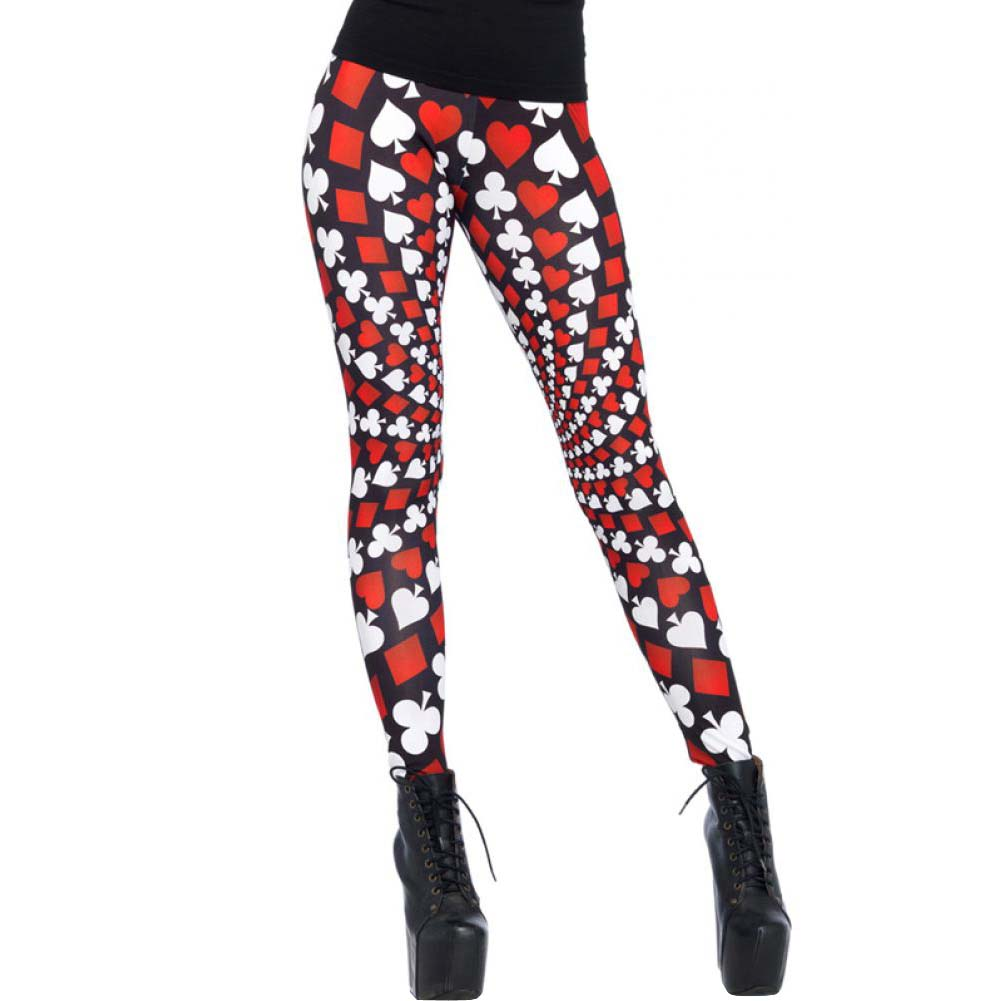 Leg Avenue Totally Trippy Psychadelic Leggings Large Red/White Black - View #1