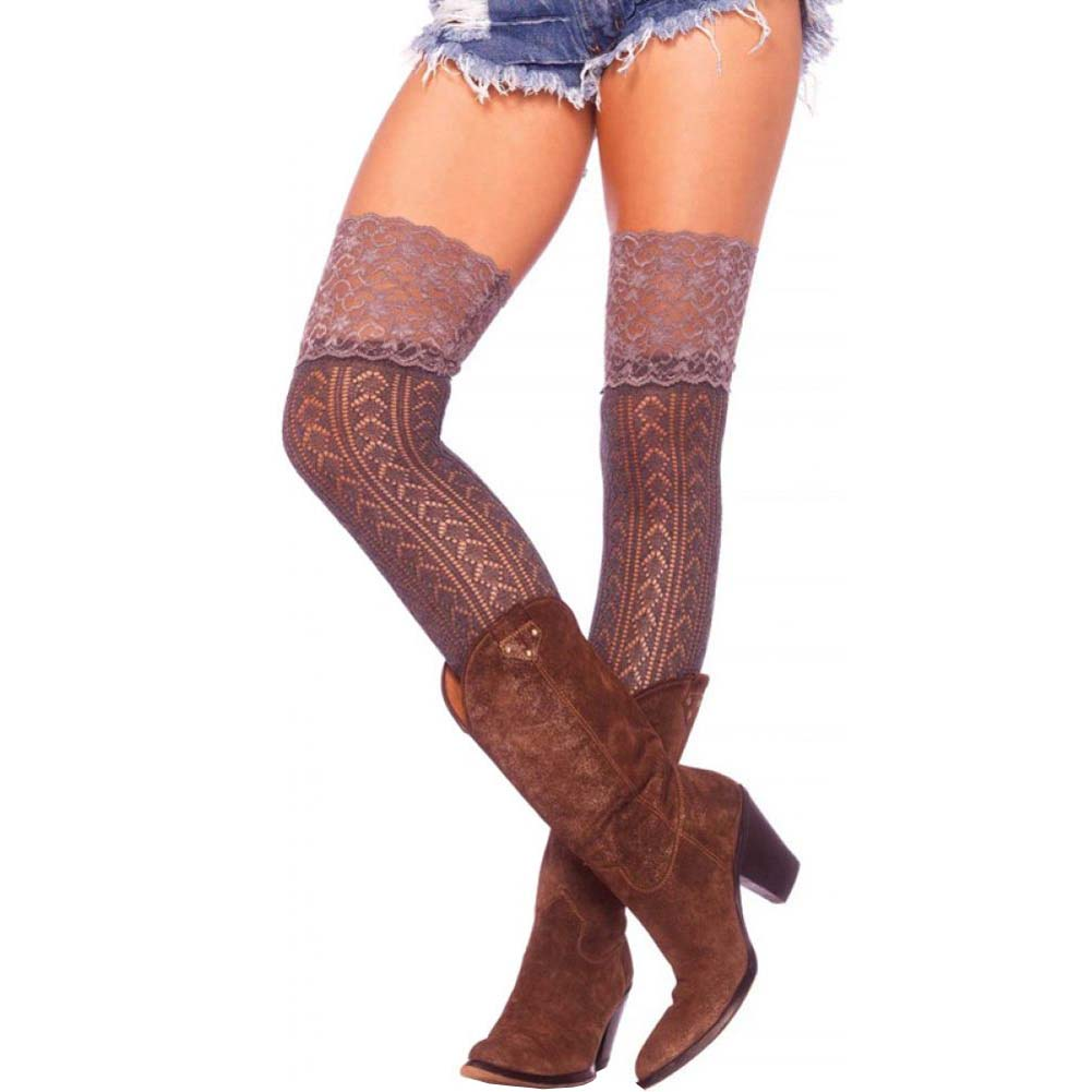 Leg Avenue Crochet Over the Knee Slouch Socks with Lace One Size Grey - View #1