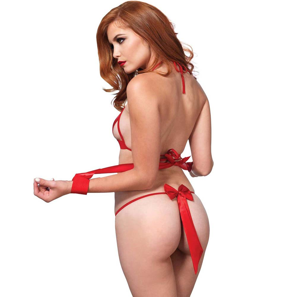 Leg Avenue 3 Piece Open Cup Strappy Bra Top G-String and Ribbon Tie Cuffs One Size Red - View #2
